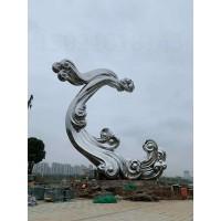 上海公园不锈钢抽象雕塑 大型镜面浪花摆件