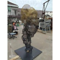 无锡艺术抽象不锈钢网格假山雕塑 电镀镂空山雕塑摆件